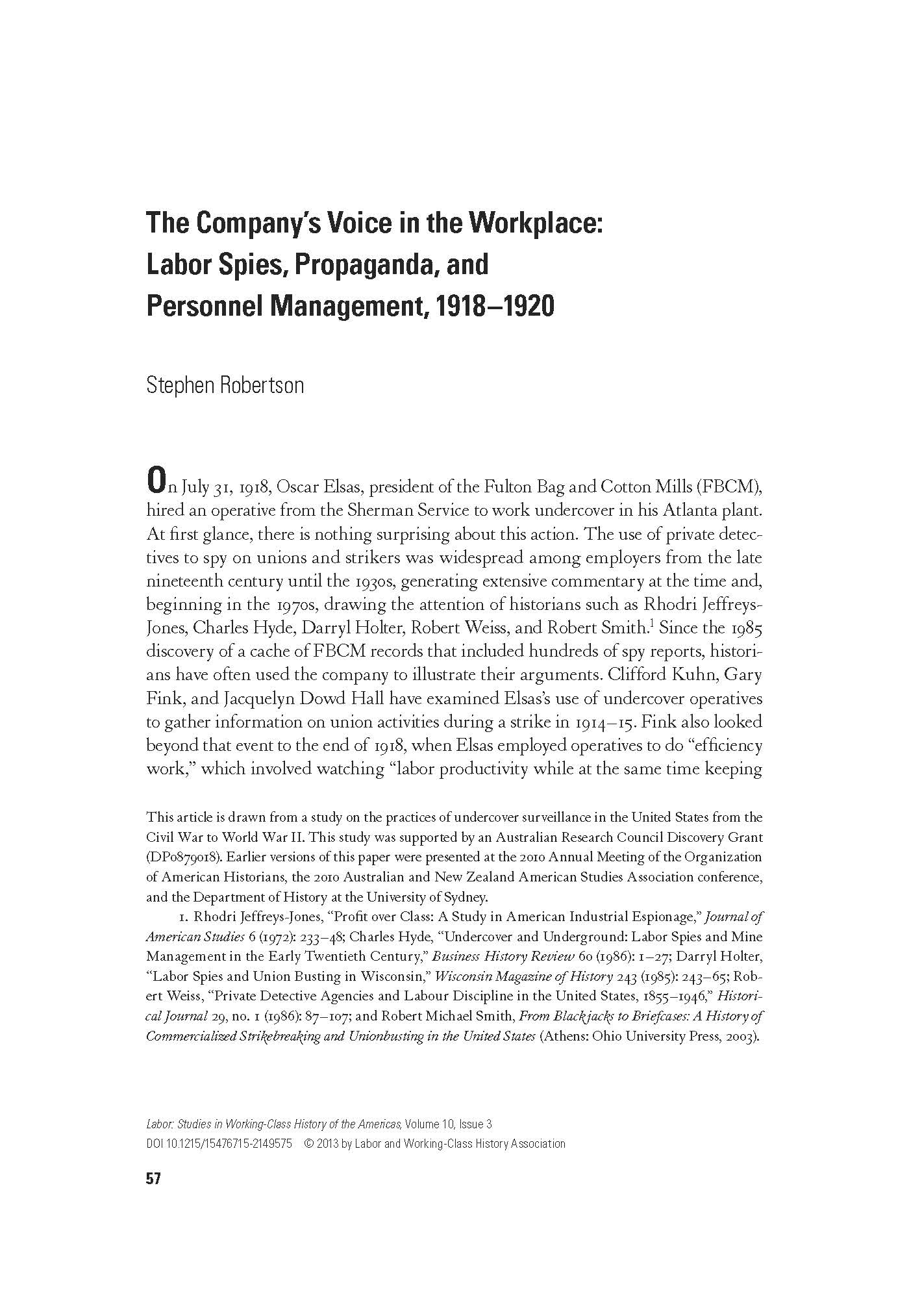 The Company's Voice in the Workplace