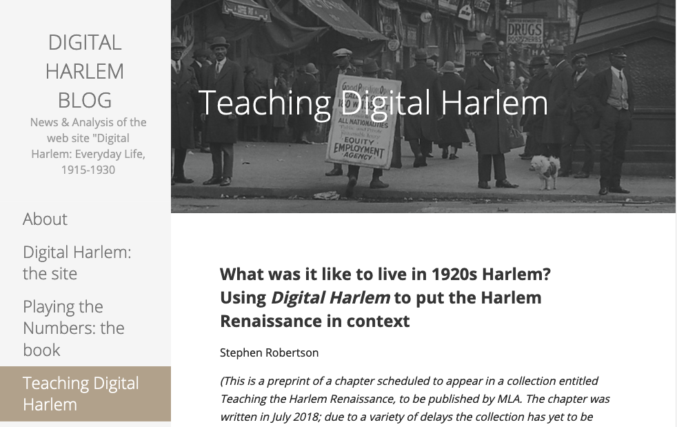 Teaching Digital Harlem
