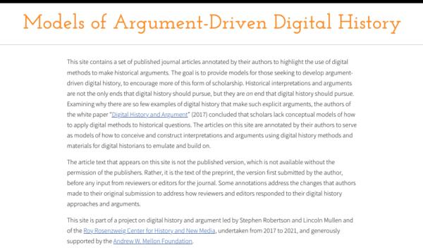 Models of Argument-Driven Digital History